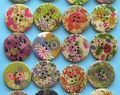 20 Painted Wood Buttons Extra Large Green Tone Designs - BUT171