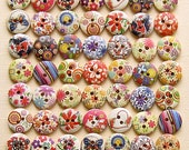 100 Painted Wood Buttons Floral Assortment 15mm BUT155-2