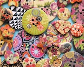 35 Painted Wooden Button Assortment Fabulous Grab Bag - BUT189