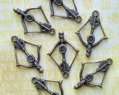 6 Bow and Arrow Charms Antique Bronze Tone - BC249