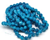 20 Turquoise Colored Glass Beads 10mm - Simply Stunning Tones of Turquoise and Midnight BD2