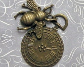 2 Large Bee and Watch Face Charms Antique Bronze Tone Incredible Detailing - BC260
