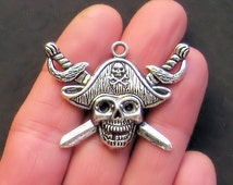 2 Pirate Charms Antique  Silver Tone Extra Large Size with Beautiful Detail - SC884