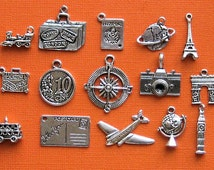 Travel Charm Deluxe Collection Antique  Silver Tone 15 Different Charms - COL062