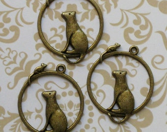 5 Cat and Mouse Charms Antique Bronze Tone - BC018