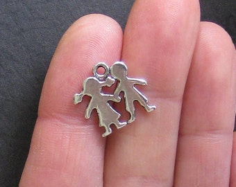 8 Boy and Girl Charms Antique  Silver Tone - SC034