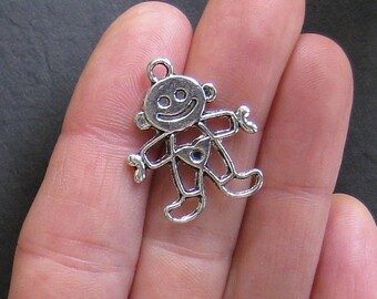 5 Baby Boy Charms Antique  Silver Tone 2 Sided - SC063