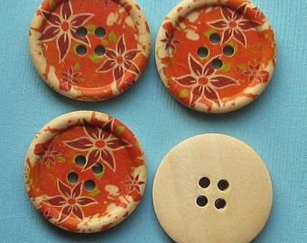 6 Large Wood Buttons Floral Design 30mm BUT135