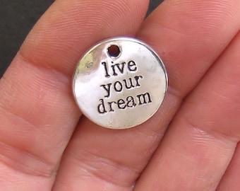 4 Live Your Dream Charms Antique Silver Tone - SC288