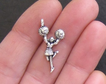10 Cheerleader Charms Antique  Silver Tone - SC115