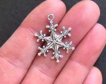 BULK 30 Snowflake Charms Antique Tibetan Silver Tone Large 2 Sided - SC469