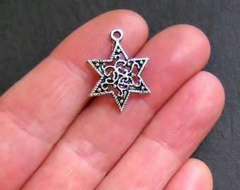 8 Star Charms Antique  Silver Tone Beautifully Detailed - SC436