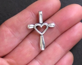 5 Heart Cross Charms Antique  Silver Tone - SC122