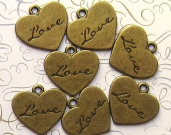 5 Love Heart Charms Antique Bronze Tone - BC041