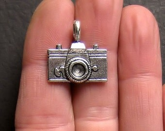 4 Large Camera Charms Antique  Silver Tone Two Sided - SC096