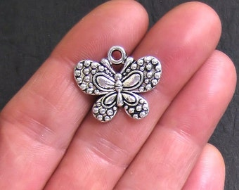 6 Butterfly Charms Antique  Silver Tone Larger Size - SC056