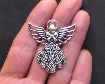 2 Huge Angel Charms Antique  Silver Tone Beautifully Detailed - SC738