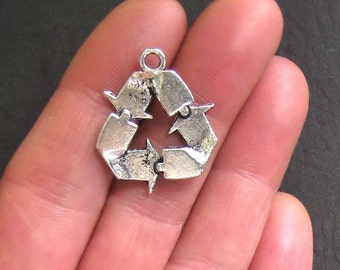 4 Recycle Charms Antique  Silver Tone 2 Sided Large Size - SC641