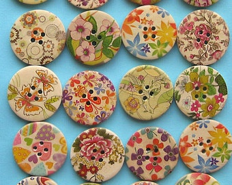 20 Painted Wood Buttons Extra Large Bright Floral Designs BUT160