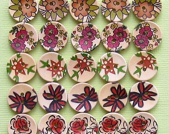 25 Painted Wood Buttons Floral Design Assortment 15mm BUT169
