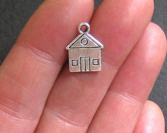 12 House Charms Antique  Silver Tone 2 Sided - SC631
