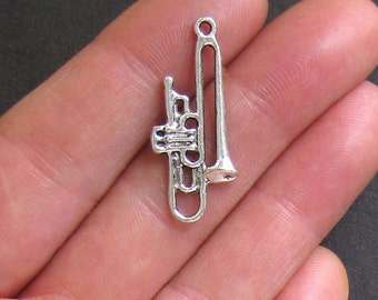 5 Trombone Charms Antique  Silver Tone - SC523