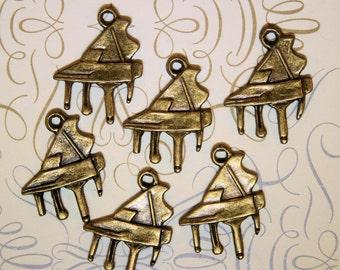 10 Piano Charms  Antique Bronze Tone Grand Piano - BC136