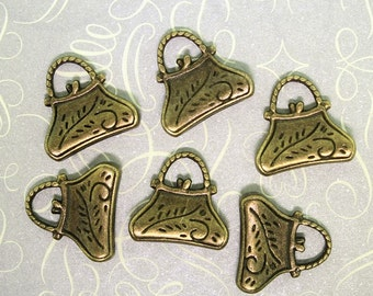 6 Purse Charms Antique Bronze Tone with 2 Sided Detail - BC217