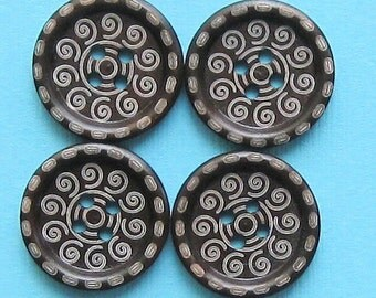 6 Wooden Buttons Walnut Color with Etched Swirl Pattern BUT151
