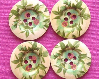 6 Large Wood Buttons Spring Floral Design 25mm BUT133
