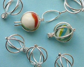 4 Bead Cages Silverplated with Hinge Makes Stunning Pendants FD137