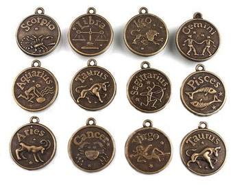 Zodiac Charms Antique Bronze Tone Set of 12 Double Sided - Bronze Tone