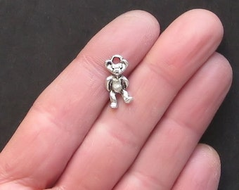 10 Teddy Bear Charms Antique  Silver Tone Adorable 2 Sided - SC1071