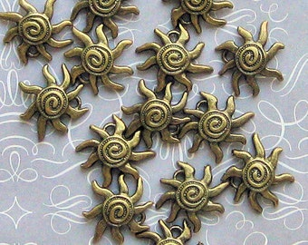 8 Sun Charms Antique Bronze Tone Perfect for Summertime - BC213