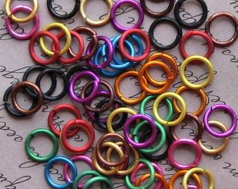 100 Jump Rings 8mm Mixed Color Anodized Aluminum 16 gauge Top Quality Made in Canada  - MT001