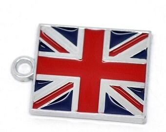 2 UK Flag Charms Silvertone Enamel E03