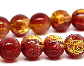 15 Crackle Glass Beads 10mm - Two tone Red and Gold BD52