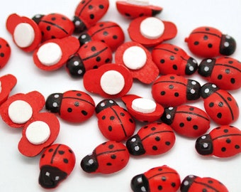 50 Wooden Ladybugs with Adhesive Backing - Perfect for Scrapbooking and Crafts - Z054