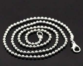 "10 Silver Plated Ball Chain Necklaces 18"" with Lobster Claw Clasps Great Quality N8"