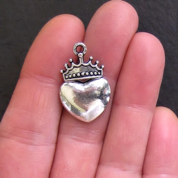 6 Crown Heart Charms Antique  Silver Tone - SC290