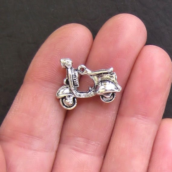 5 Scooter Charms Antique  Silver Tone Large 3D - SC562