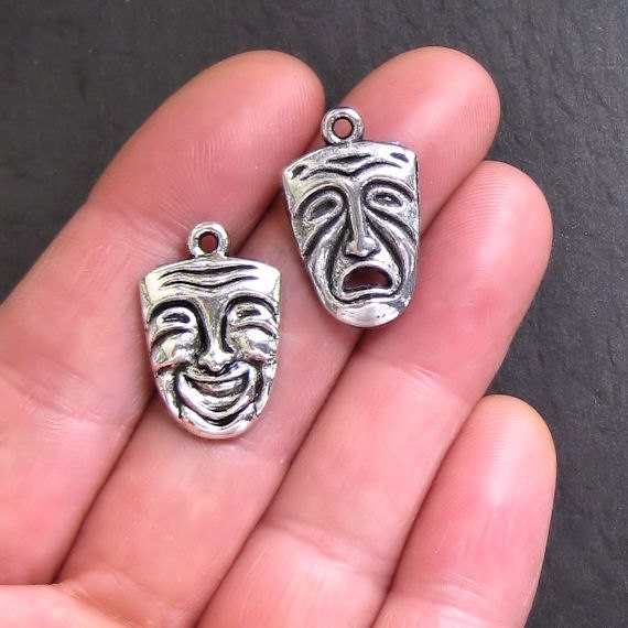 4 Drama Charms Antique  Silver Tone Comedy and Tragedy 2 of Each Charm - SC143