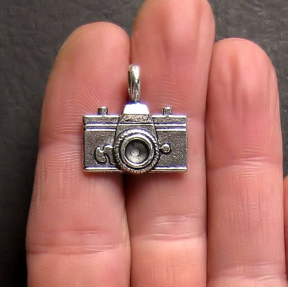 4 Large Camera Charms Antique  Silver Tone Two Sided - SC96