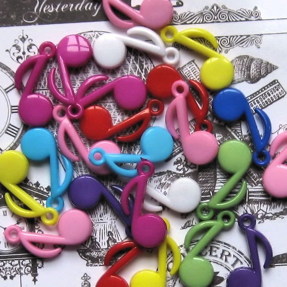 SALE 15 Colorful Music Note Charms K48