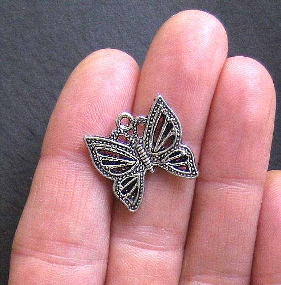 4 Butterfly Charms Antique  Silver Tone Intricate Design - SC042
