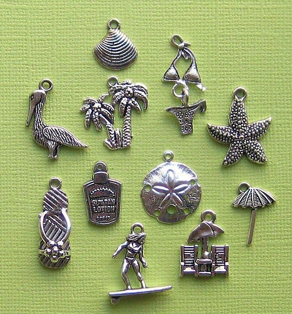 Beach Charm Collection Antique  Silver Tone 11 Charms - COL004