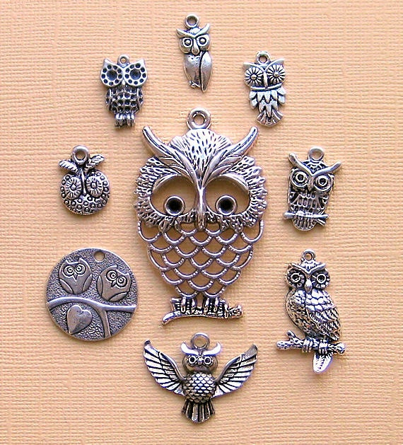 Owl Charm Collection Antique  Silver Tone - 9 Different Charms - COL005