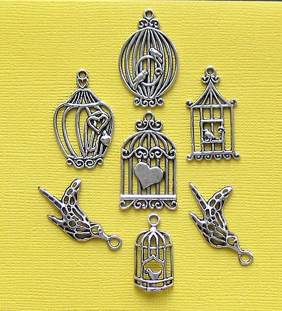 Birdcage Charm Collection Antique  Silver Tone 7 Charm Set Perfect for Spring - COL036