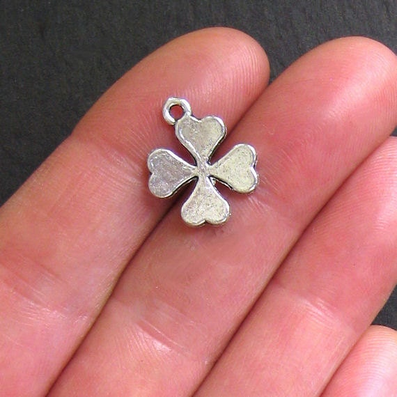 6 Four Leaf Clover Charms Antique  Silver Tone - SC180
