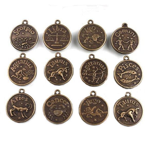 Zodiac Charms Antique Bronze Tone Set of 12 Double Sided - Bronze Tone